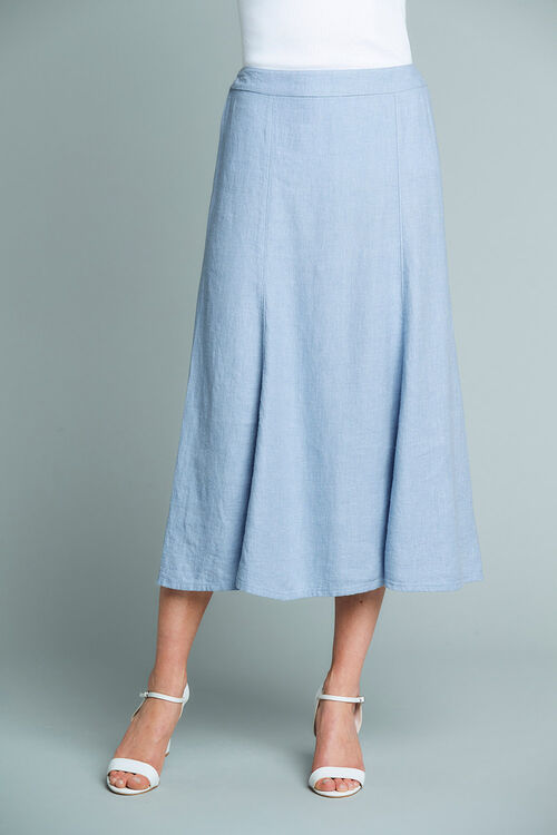 Textured Linen Blend Skirt