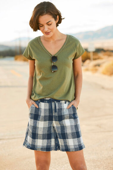 Check Linen Blend Short