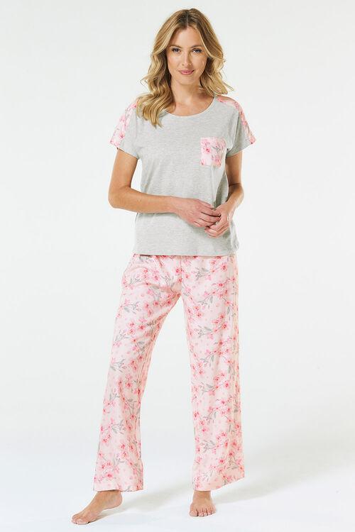 Woven Floral Panel Top Pyjama