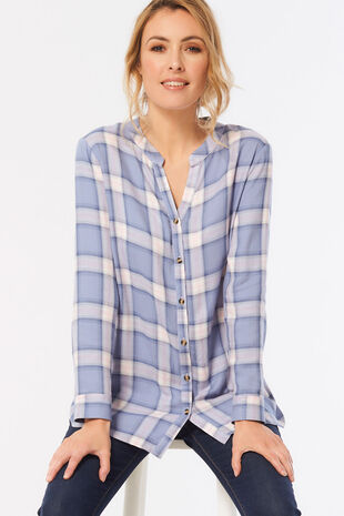Collarless Check Shirt