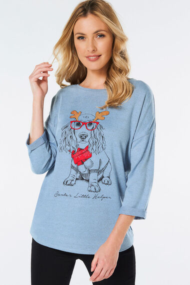 Novelty Dog with Glasses Printed Sweat