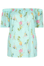 Burnout Floral Bardot T-Shirt