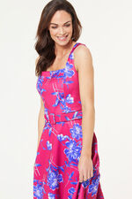 Floral Print Sleeveless Prom Dress