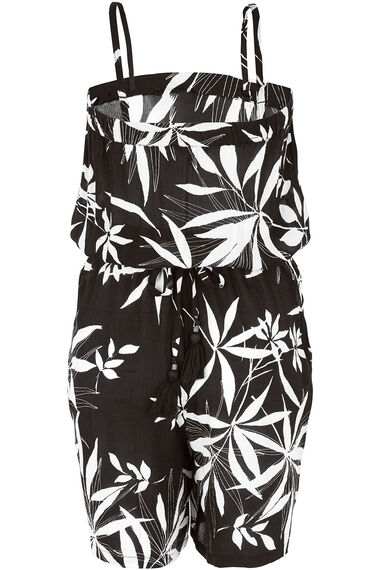 Mono Palm Woven Playsuit With Belt