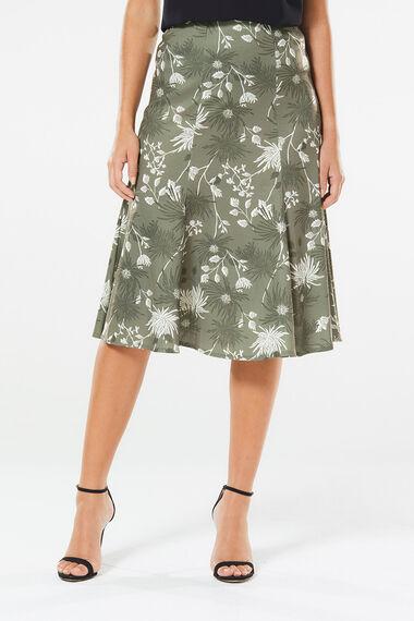 Floral Print Ponte Panelled Skirt