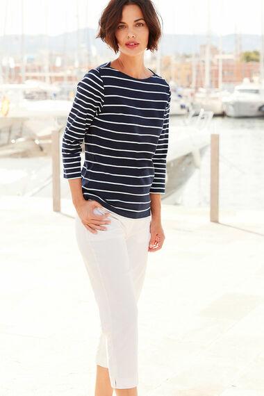 Boat Neck Stripe T-Shirt