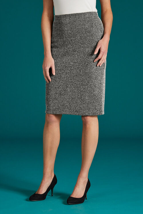 Heringbone Ponte Pencil Skirt