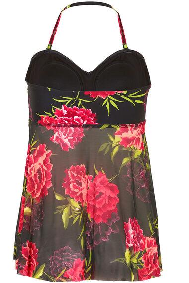 Floral Print Mesh Tankini Top