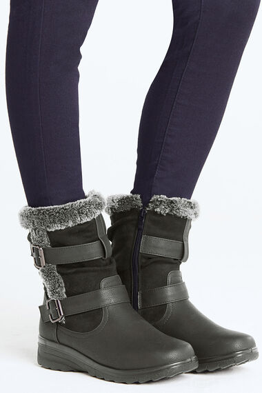 Cushion Walk Boot with Buckle and Faux Fur Trim