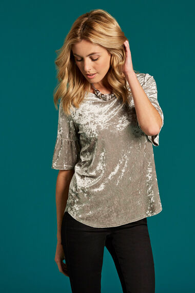 Velour Top With Fluted Sleeves