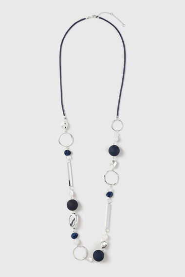 Muse Navy Beads and Polished Station Rope Necklace