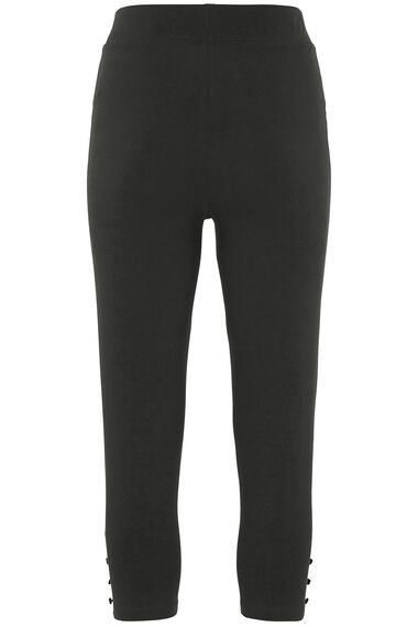 Crop Button Hem Detail Legging