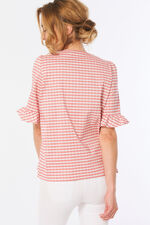 Gingham Frill Sleeve Top
