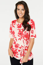 Floral Print Jersey Top With Side Tie