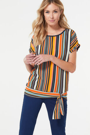 Stripe Tie Side Jersey Back Top