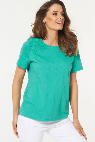 Embroidered Tie Back T-Shirt