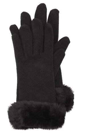 Faux Fur Trimmed Fleece Glove