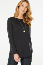 Soft Touch with Stud Detail Sleeves Top