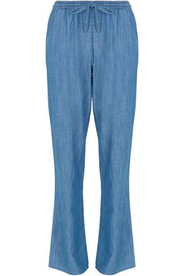 Wide Leg Chambray Trouser