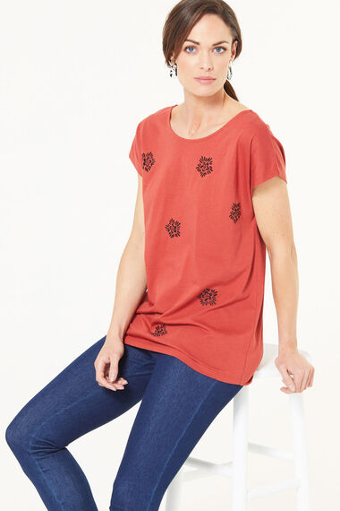 Floral Badge Embroidered T-Shirt