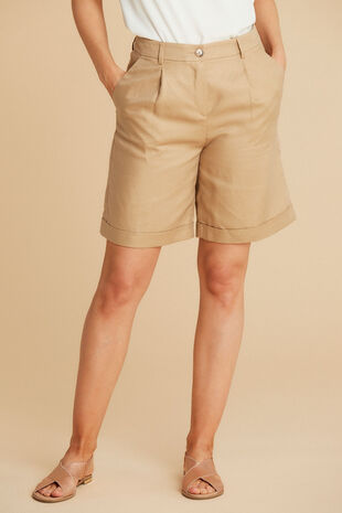 Salvari Linen Blend Tailored Shorts