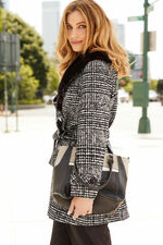 Check Smart Coat with Fur Collar