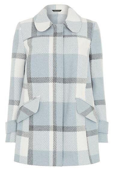 Check Coat with Detachable Fur