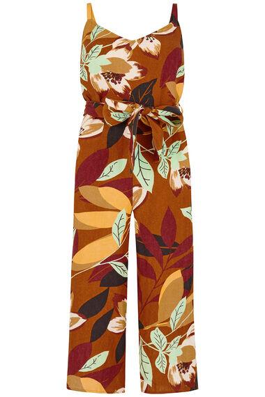 Sleeveless Floral Print Linen Blend Jumpsuit