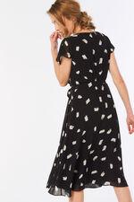 Smudge Spot Print Frill Wrap Dress