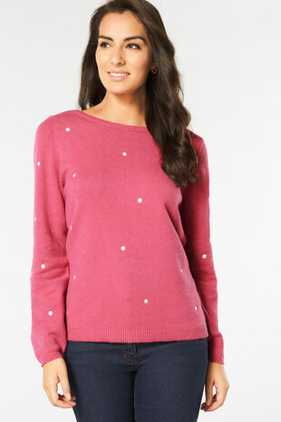 Spot Embroidered Jumper