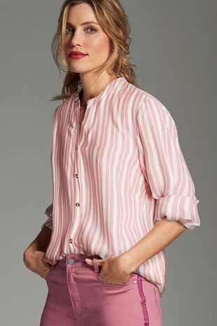 Pink Stripe Collarless Shirt