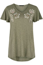 Embroidered Neck T-Shirt