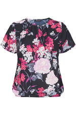 Floral Print Blouse With Keyhole And Button Design