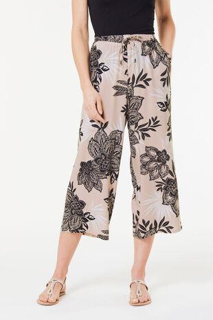 Floral Spun Viscose Wide Leg Crop Trouser