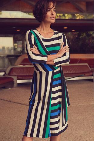Bold Stripe Printed Wrap Dress