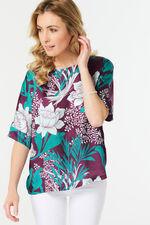 Woven Front Jersey Back Kimono Sleeve Top