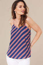 Grace By Eda Diagonal Stripe Camisole Top