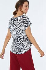Zebra Print Linen Look T-Shirt