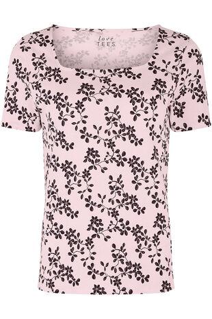 Square Neck Oriental Flower Print T-Shirt