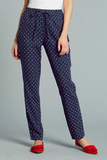 Diamond Print Linen Blend Tapered Trousers