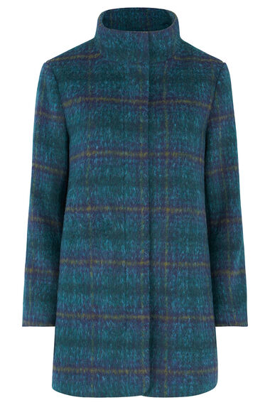 Funnel Neck Check Coat