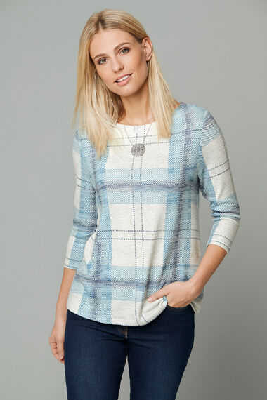 Soft Touch Check Print Crew Neck Sweater