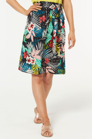 Tropical Leaf Wrap Skirt