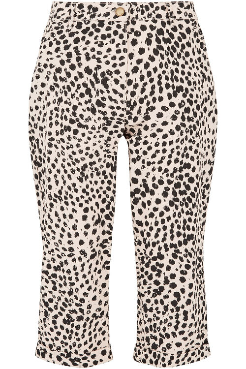 Cheetah Print Brushed Cotton Crop Trouser