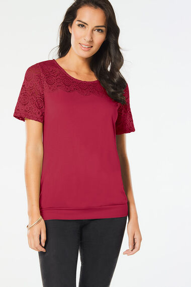 Short Sleeve Lace Detail Jersey Top