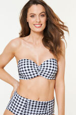 Gingham Bandeau Bikini Top