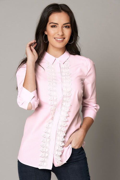 Stripe Shirt With Lace Trim At Buttons