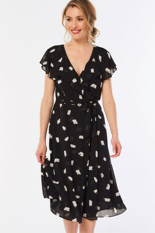 Smudge Spot Print Frill Wrap Dress