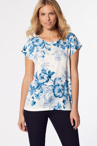 Blue Floral Placement Woven Front T-Shirt