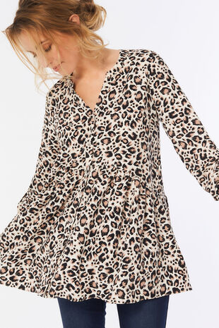 Animal Print Tunic with Peplum